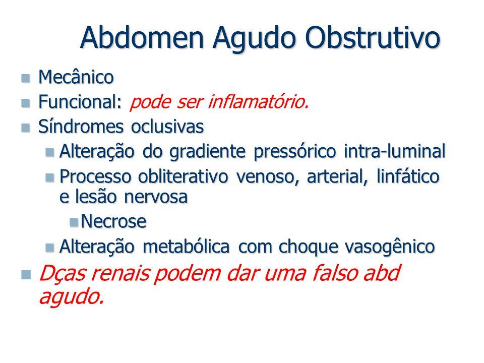 Abdomen Agudo Obstrutivo Mecânico Mecânico Funcional: Funcional: pode ser inflamatório. Síndromes oclusivas Síndromes oclusivas Alteração do gradiente