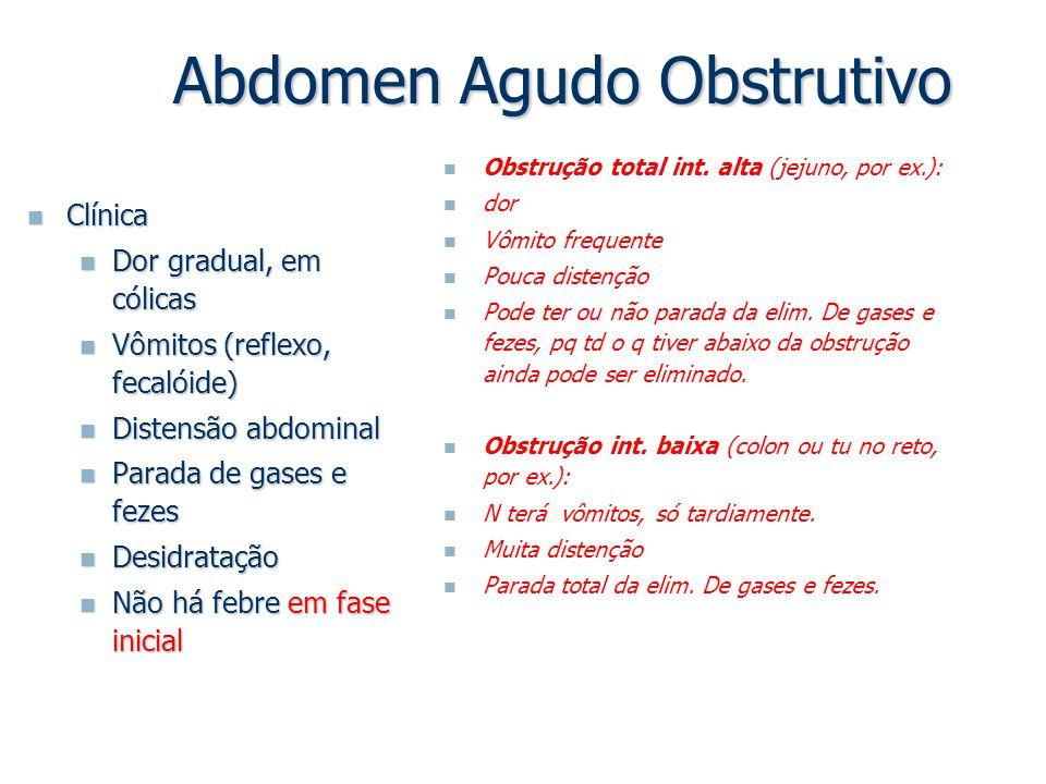Abdomen Agudo Obstrutivo Clínica Clínica Dor gradual, em cólicas Dor gradual, em cólicas Vômitos (reflexo, fecalóide) Vômitos (reflexo, fecalóide) Dis
