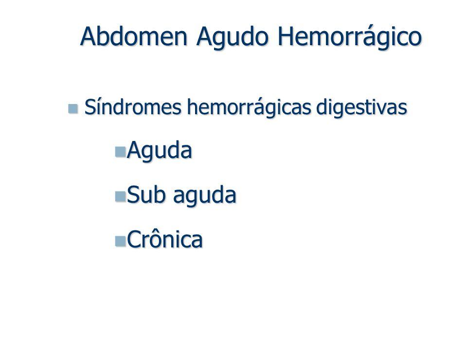 Síndromes hemorrágicas digestivas Síndromes hemorrágicas digestivas Aguda Aguda Sub aguda Sub aguda Crônica Crônica Abdomen Agudo Hemorrágico