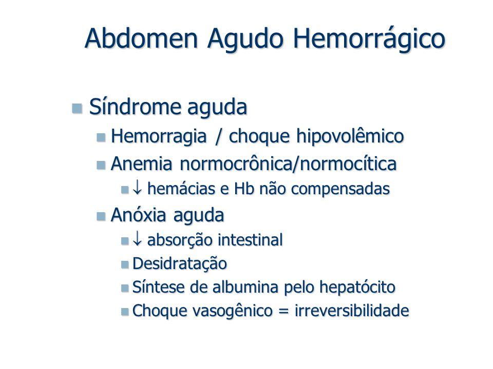 Síndrome aguda Síndrome aguda Hemorragia / choque hipovolêmico Hemorragia / choque hipovolêmico Anemia normocrônica/normocítica Anemia normocrônica/no