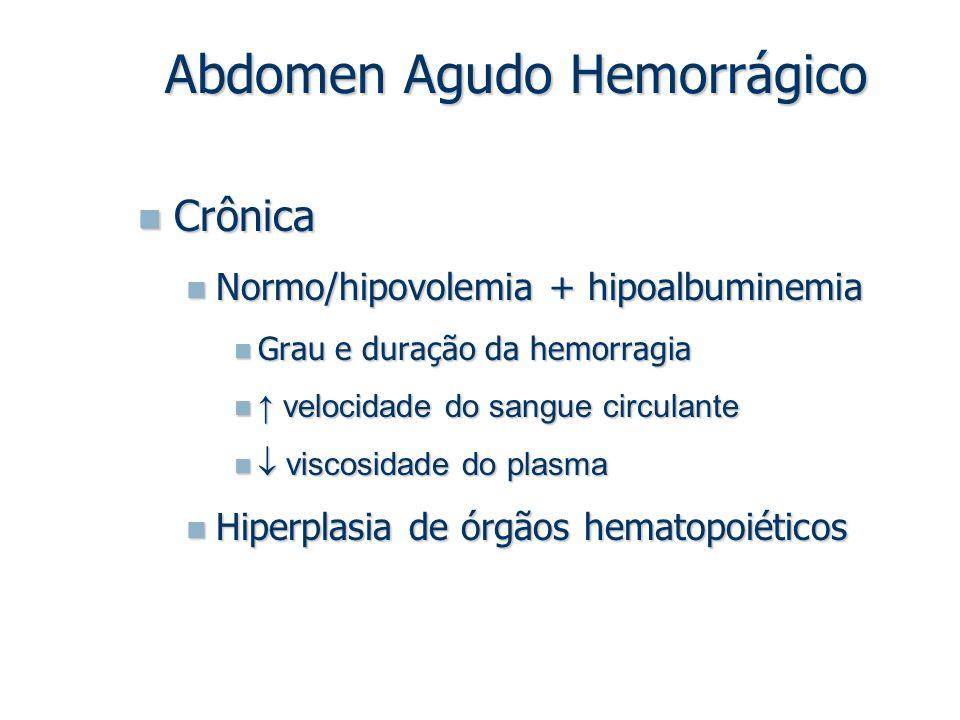 Crônica Crônica Normo/hipovolemia + hipoalbuminemia Normo/hipovolemia + hipoalbuminemia Grau e duração da hemorragia Grau e duração da hemorragia ↑ ve