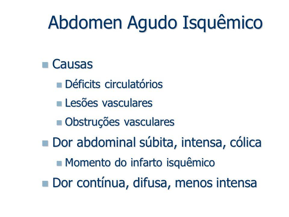 Abdomen Agudo Isquêmico Causas Causas Déficits circulatórios Déficits circulatórios Lesões vasculares Lesões vasculares Obstruções vasculares Obstruçõ