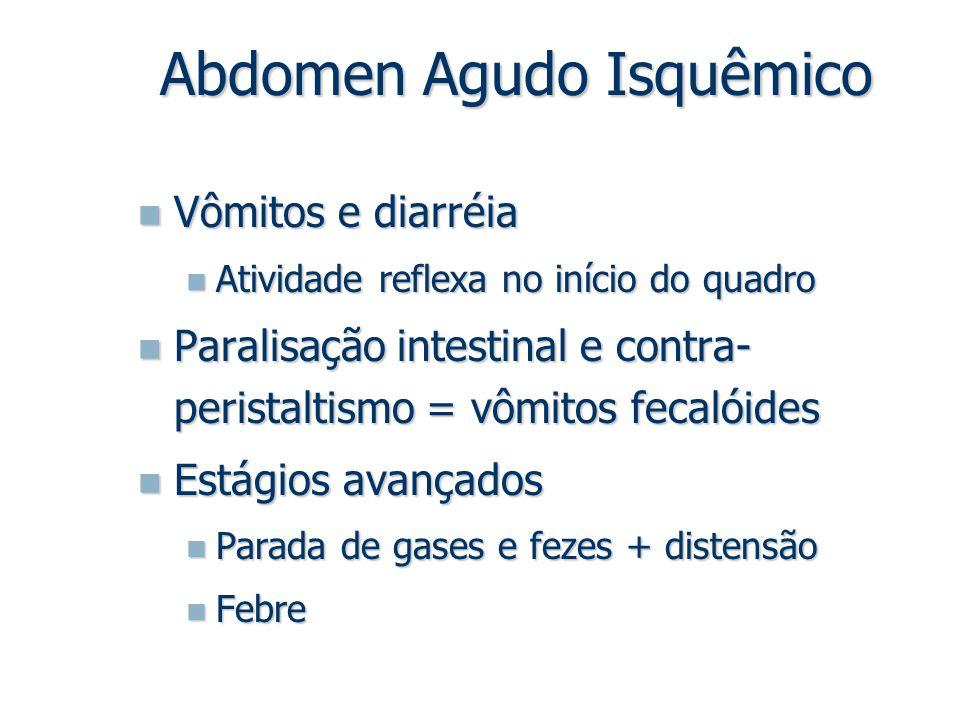 Vômitos e diarréia Vômitos e diarréia Atividade reflexa no início do quadro Atividade reflexa no início do quadro Paralisação intestinal e contra- per