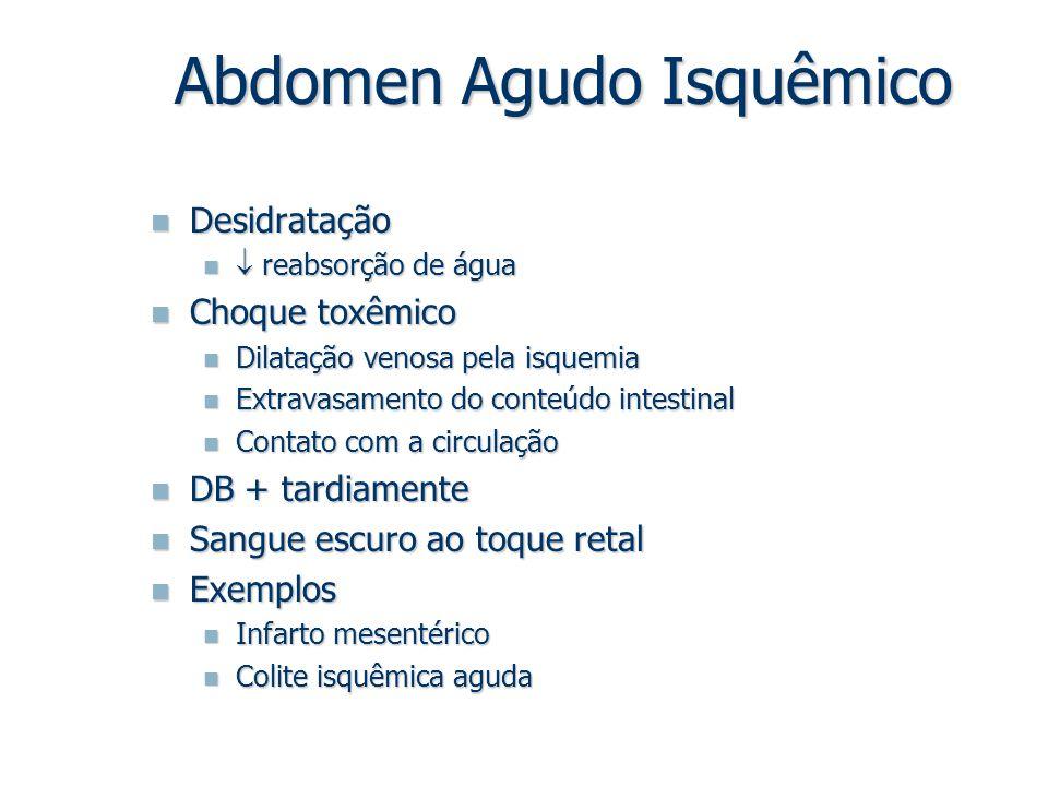 Desidratação Desidratação  reabsorção de água  reabsorção de água Choque toxêmico Choque toxêmico Dilatação venosa pela isquemia Dilatação venosa pe