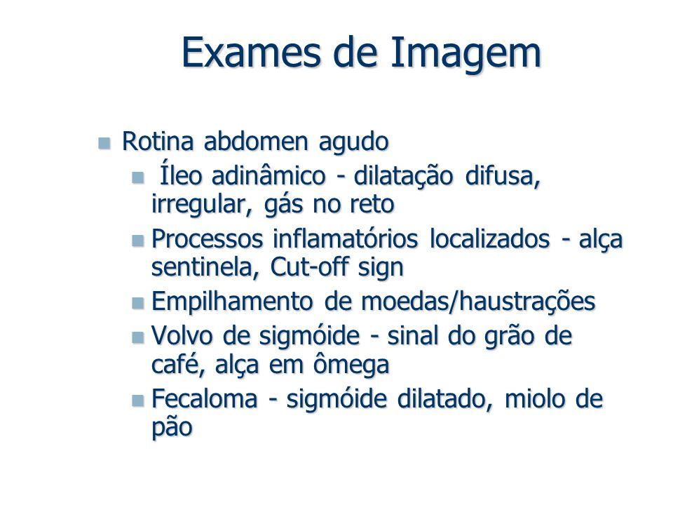 Exames de Imagem Rotina abdomen agudo Rotina abdomen agudo Íleo adinâmico - dilatação difusa, irregular, gás no reto Íleo adinâmico - dilatação difusa