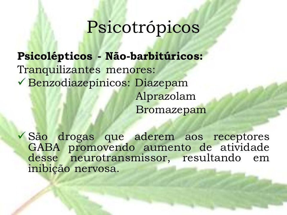 Psicotrópicos Psicolépticos - Não-barbitúricos: Tranquilizantes menores: Benzodiazepínicos: Diazepam Alprazolam Bromazepam São drogas que aderem aos r