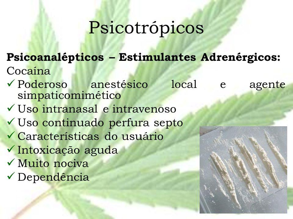 Psicotrópicos Psicoanalépticos – Estimulantes Adrenérgicos: Cocaína Poderoso anestésico local e agente simpaticomimético Uso intranasal e intravenoso