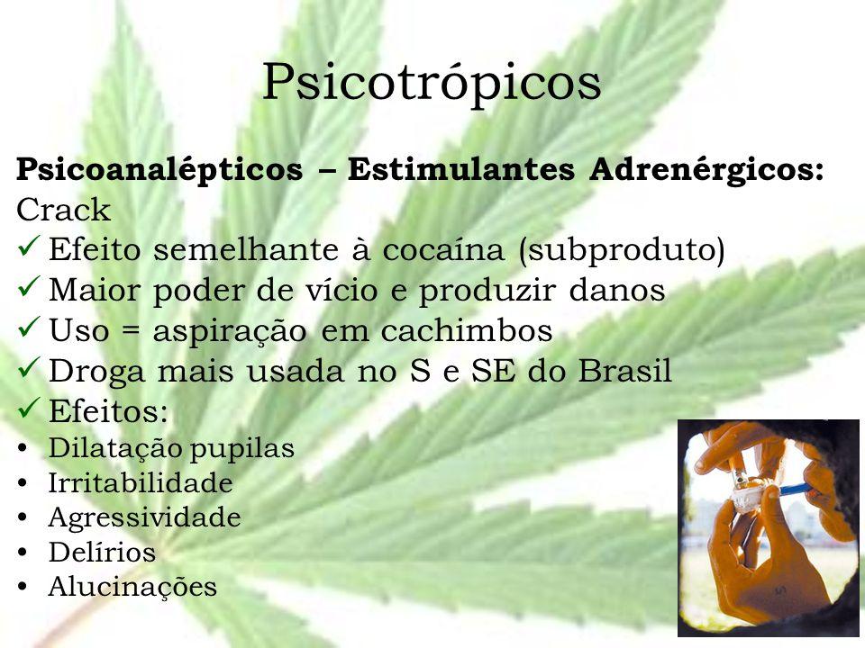 Psicotrópicos Psicoanalépticos – Estimulantes Adrenérgicos: Crack Efeito semelhante à cocaína (subproduto) Maior poder de vício e produzir danos Uso =