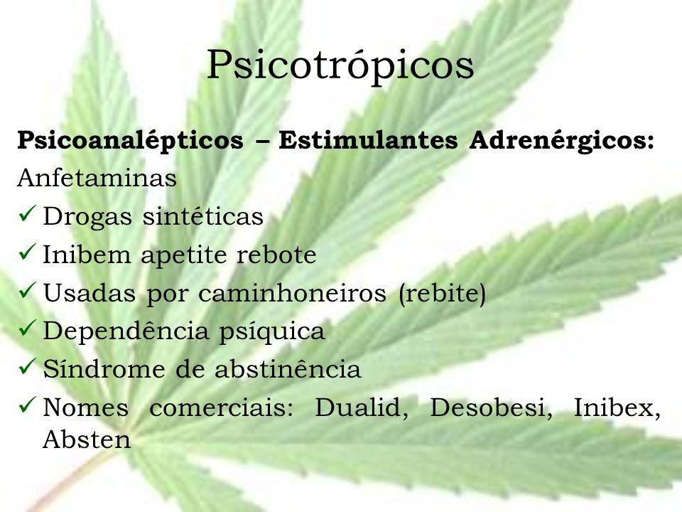 Psicotrópicos Psicoanalépticos – Estimulantes Adrenérgicos: Anfetaminas Drogas sintéticas Inibem apetite rebote Usadas por caminhoneiros (rebite) Depe