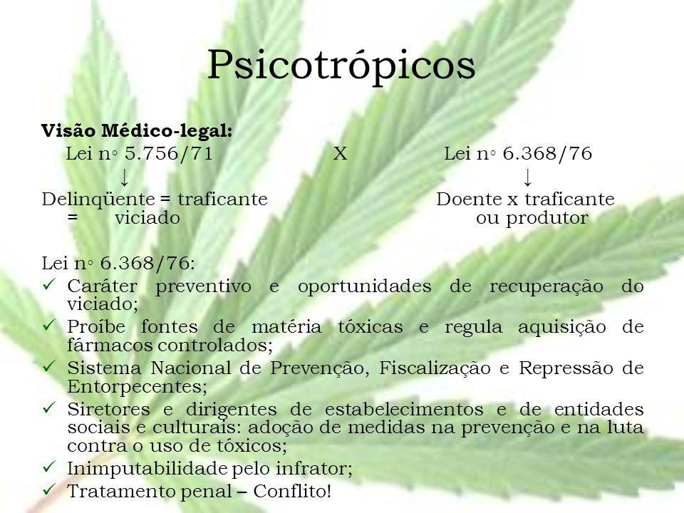 Psicotrópicos Visão Médico-legal: Lei n◦ 5.756/71 X Lei n◦ 6.368/76 ↓ ↓ Delinqüente = traficante Doente x traficante = viciado ou produtor Lei n◦ 6.36