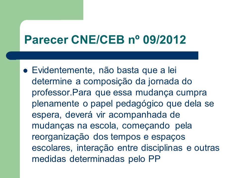 Parecer CNE/CEB nº 09/2012 Evidentemente, não basta que a lei determine a composição da jornada do professor.Para que essa mudança cumpra plenamente o