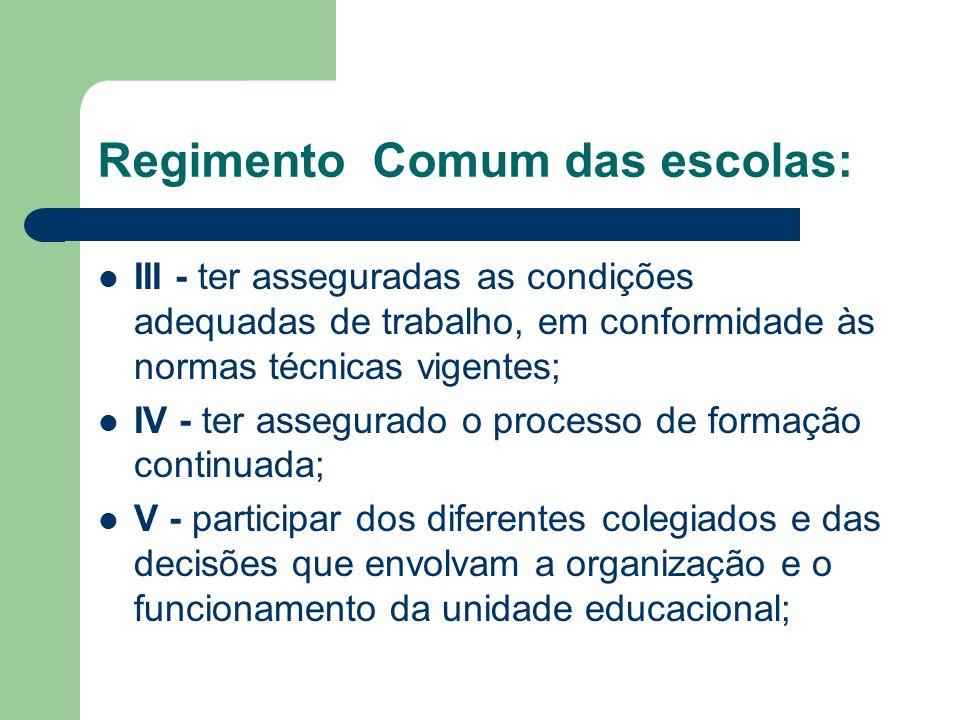 Regimento Comum das escolas: III - ter asseguradas as condições adequadas de trabalho, em conformidade às normas técnicas vigentes; IV - ter assegurad