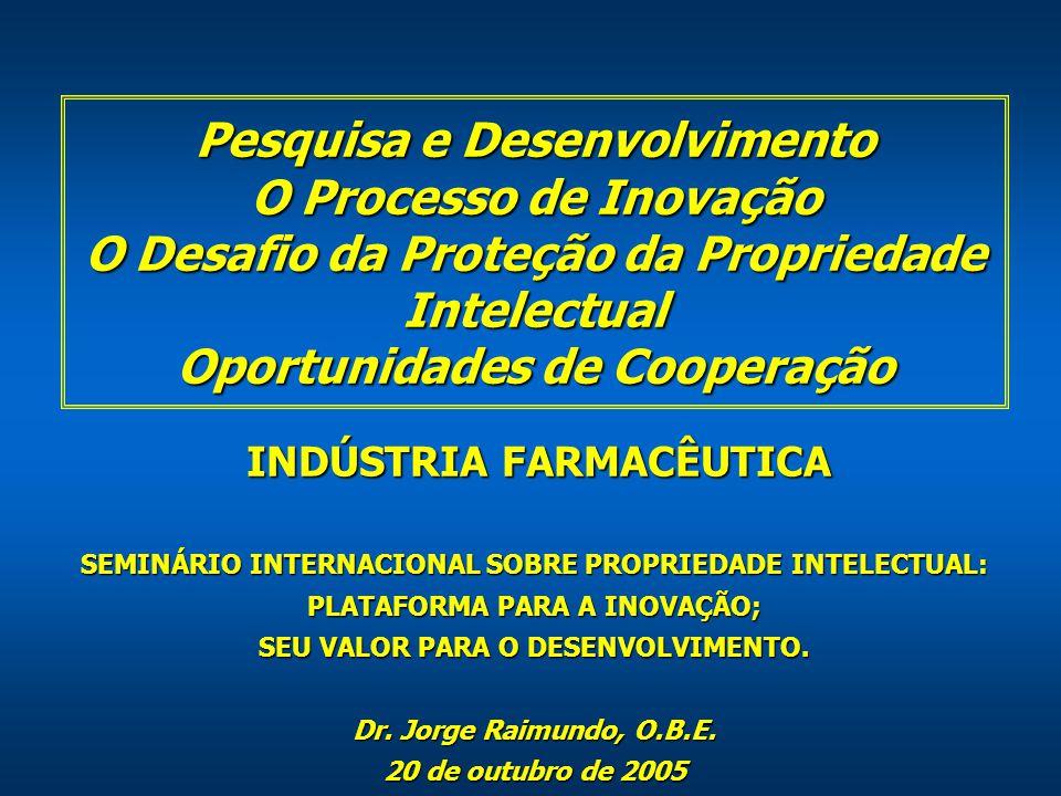 Pesquisa e Desenvolvimento O Processo de Inovação O Desafio da Proteção da Propriedade Intelectual Oportunidades de Cooperação SEMINÁRIO INTERNACIONAL SOBRE PROPRIEDADE INTELECTUAL: PLATAFORMA PARA A INOVAÇÃO; SEU VALOR PARA O DESENVOLVIMENTO.