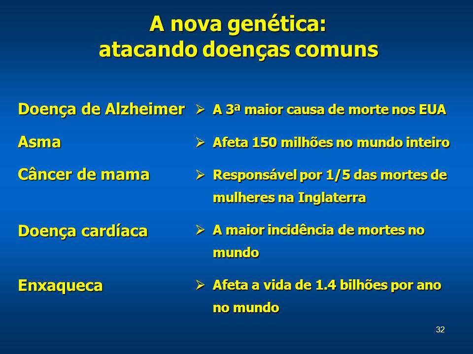 32 A nova genética: atacando doenças comuns Doença de Alzheimer Asma Câncer de mama Doença cardíaca Enxaqueca  A 3ª maior causa de morte nos EUA  Afeta 150 milhões no mundo inteiro  Responsável por 1/5 das mortes de mulheres na Inglaterra  A maior incidência de mortes no mundo  Afeta a vida de 1.4 bilhões por ano no mundo