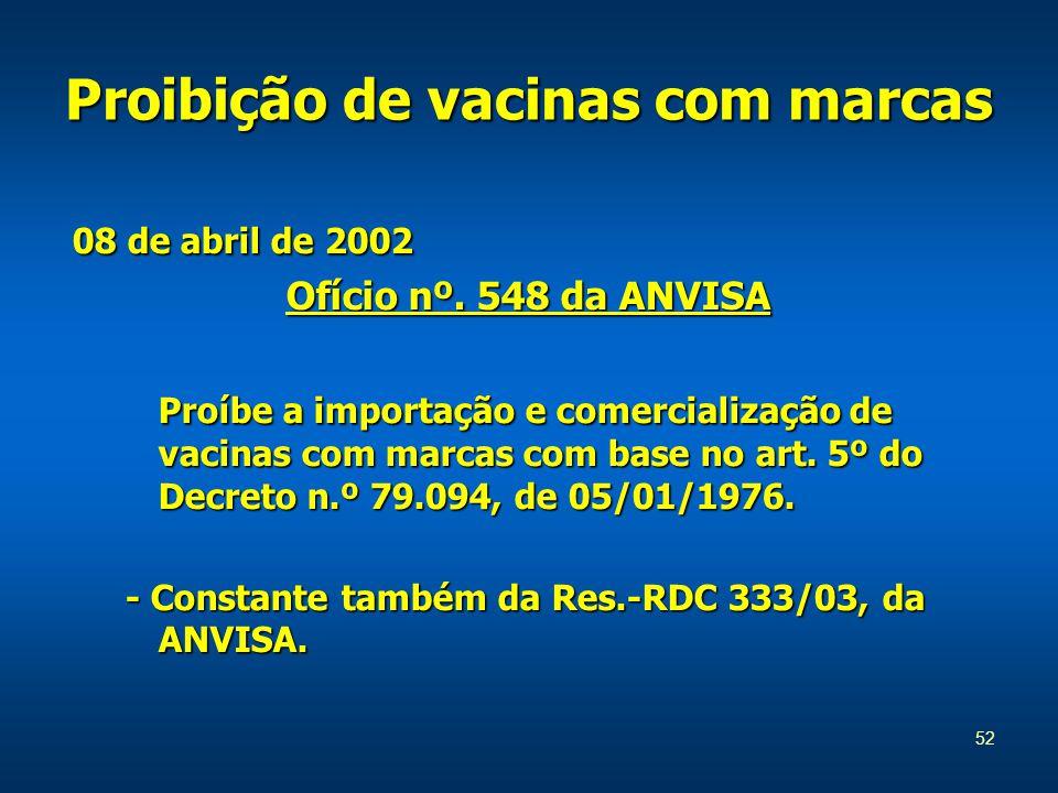 52 Proibição de vacinas com marcas 08 de abril de 2002 Ofício nº.