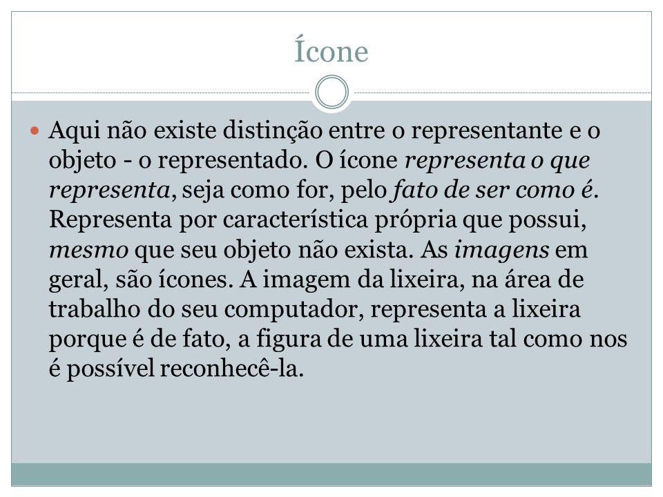 Ícone Aqui não existe distinção entre o representante e o objeto - o representado. O ícone representa o que representa, seja como for, pelo fato de se