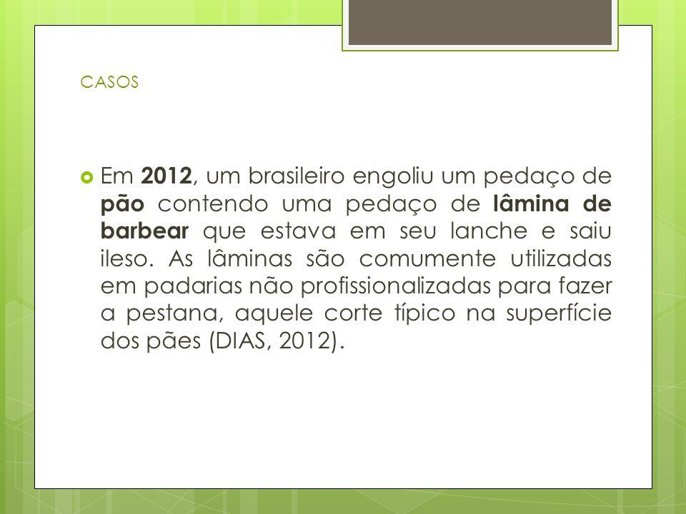  Em 2012, um brasileiro engoliu um pedaço de pão contendo uma pedaço de lâmina de barbear que estava em seu lanche e saiu ileso. As lâminas são comum
