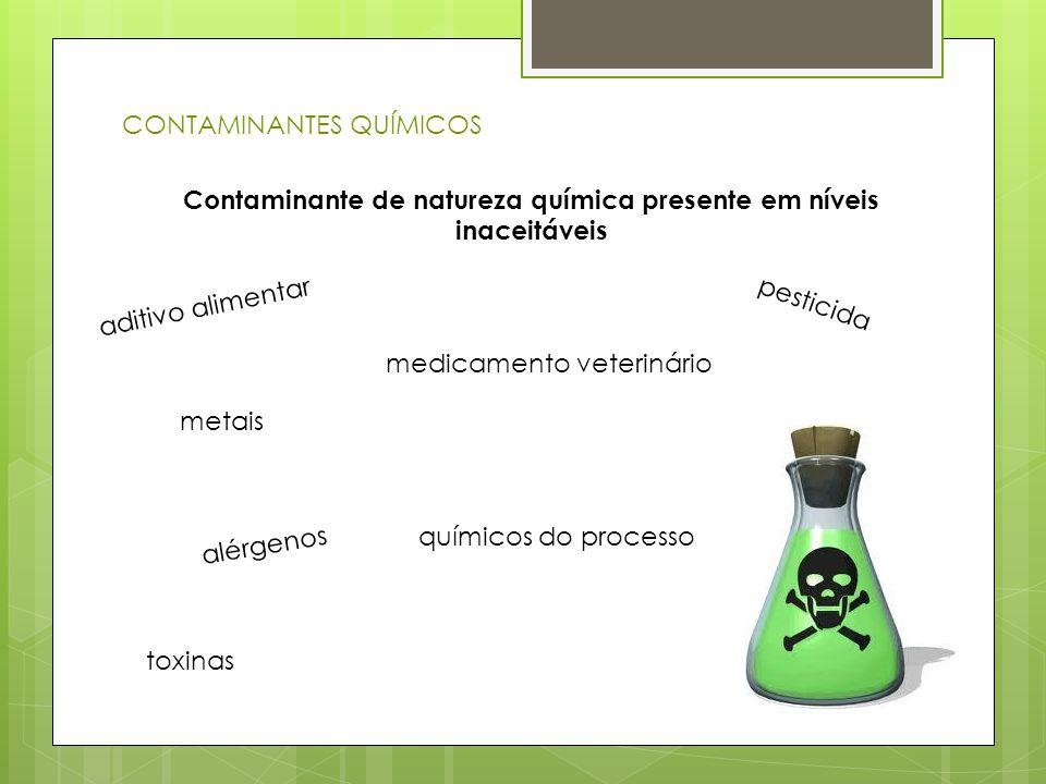 CONTAMINANTES QUÍMICOS Contaminante de natureza química presente em níveis inaceitáveis aditivo alimentar metais medicamento veterinário pesticida tox