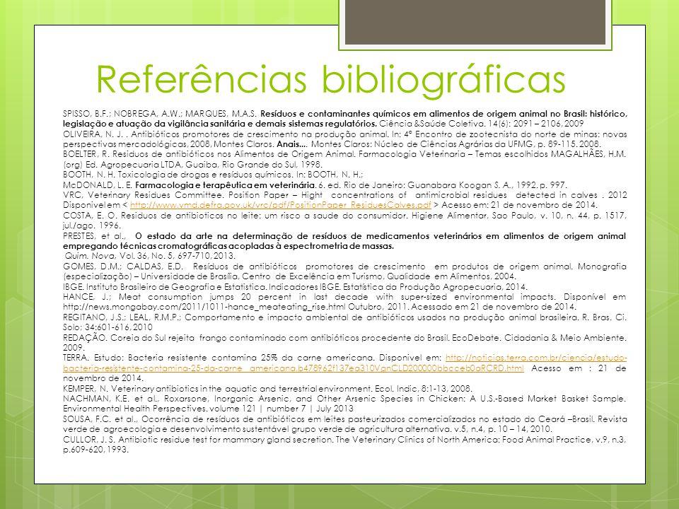 Referências bibliográficas SPISSO, B.F.; NOBREGA, A.W.; MARQUES, M.A.S. Resíduos e contaminantes químicos em alimentos de origem animal no Brasil: his