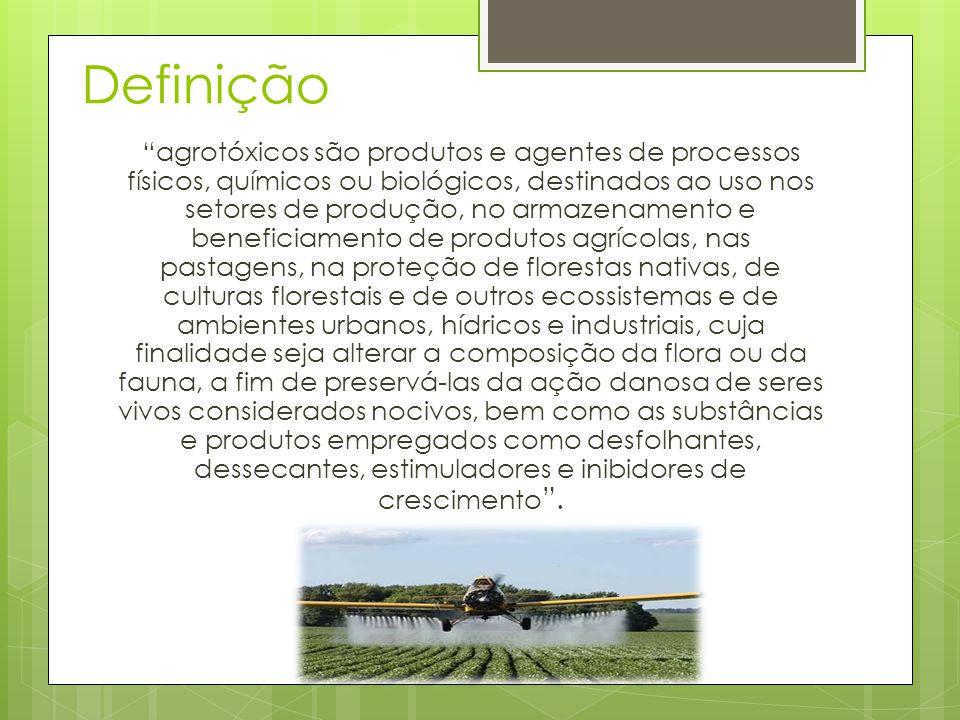 """Definição """"agrotóxicos são produtos e agentes de processos físicos, químicos ou biológicos, destinados ao uso nos setores de produção, no armazenament"""