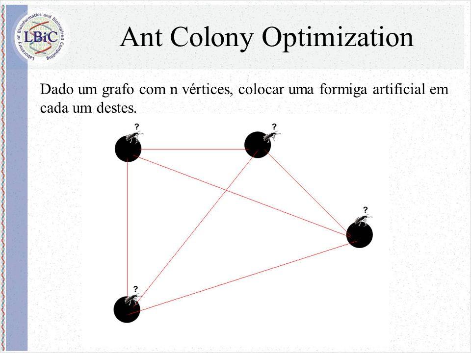Ant Colony Optimization Dado um grafo com n vértices, colocar uma formiga artificial em cada um destes.