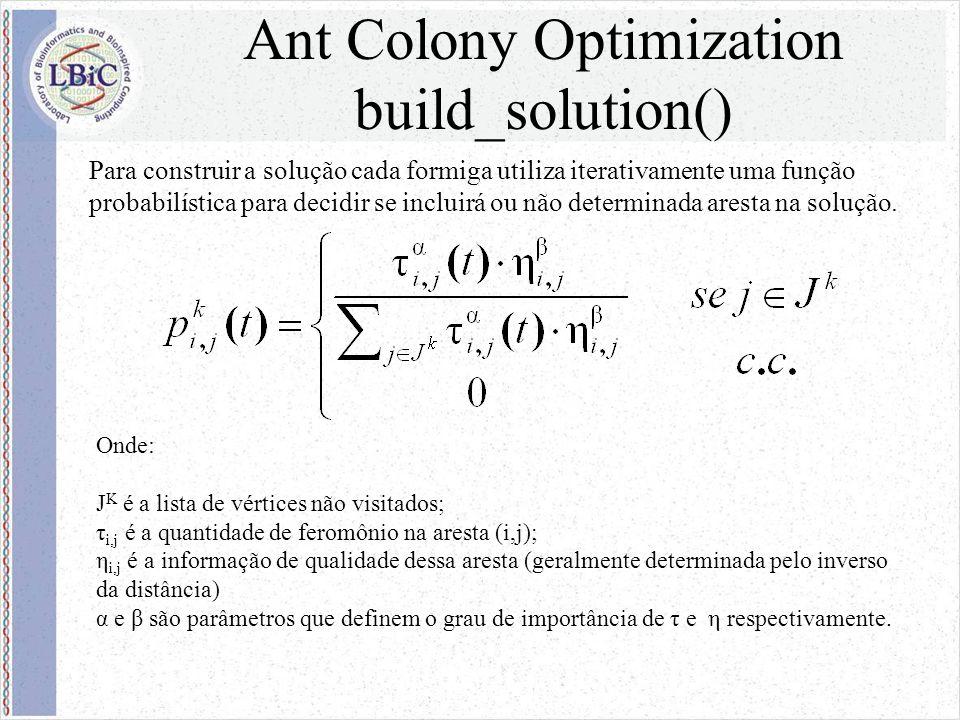 Ant Colony Optimization build_solution() Onde: J K é a lista de vértices não visitados; τ i,j é a quantidade de feromônio na aresta (i,j); η i,j é a informação de qualidade dessa aresta (geralmente determinada pelo inverso da distância) α e β são parâmetros que definem o grau de importância de τ e η respectivamente.