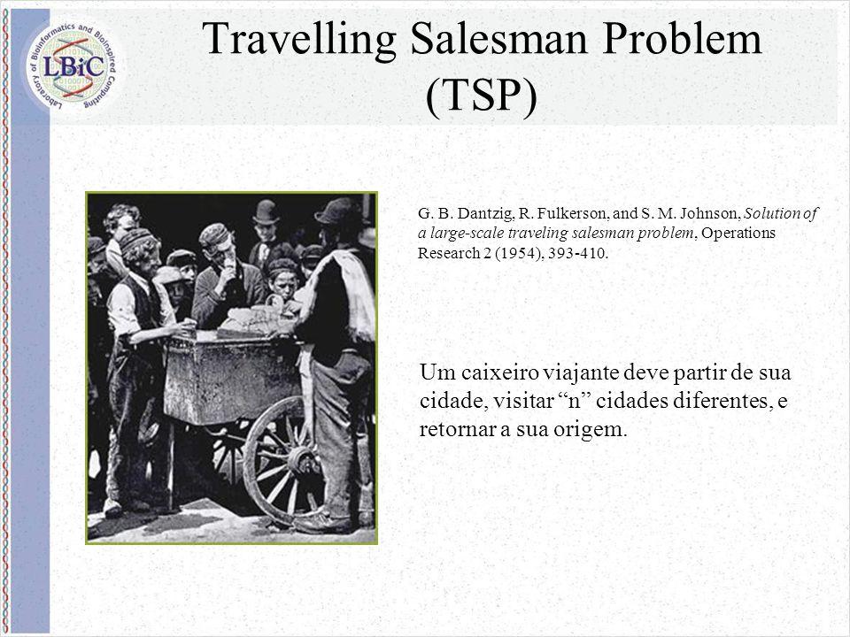 Travelling Salesman Problem (TSP) Qual a seqüência de de cidades que devo percorrer de modo que eu gaste o menor tempo possível.