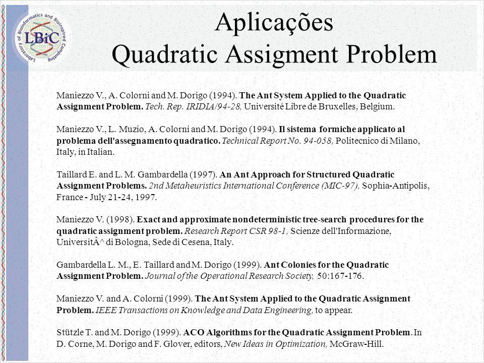 Aplicações Quadratic Assigment Problem Maniezzo V., A.