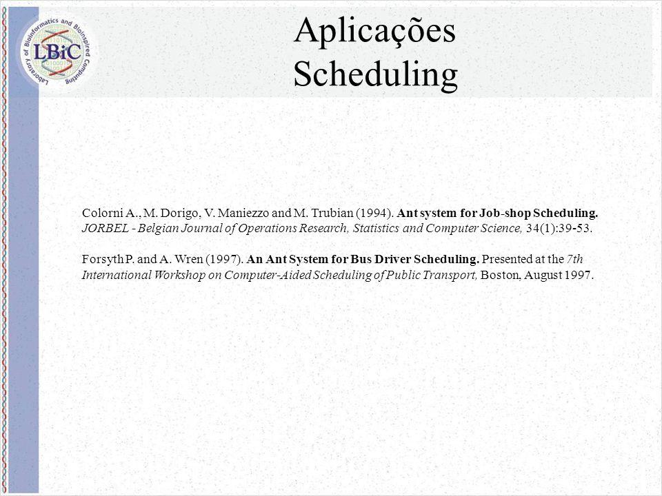 Aplicações Scheduling Colorni A., M. Dorigo, V. Maniezzo and M.