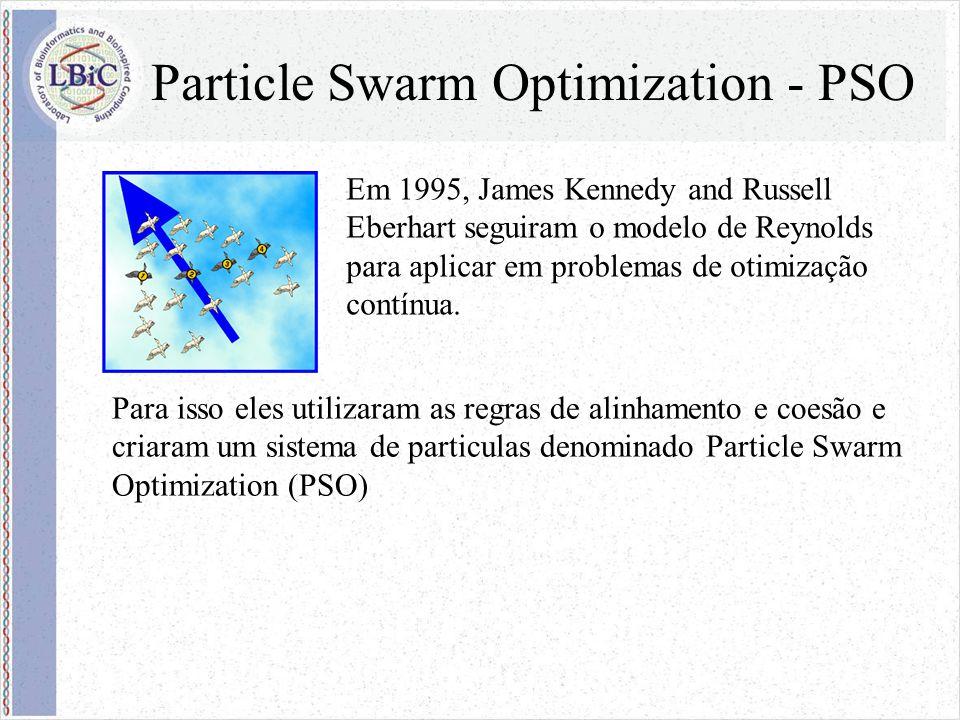 Particle Swarm Optimization - PSO Em 1995, James Kennedy and Russell Eberhart seguiram o modelo de Reynolds para aplicar em problemas de otimização contínua.