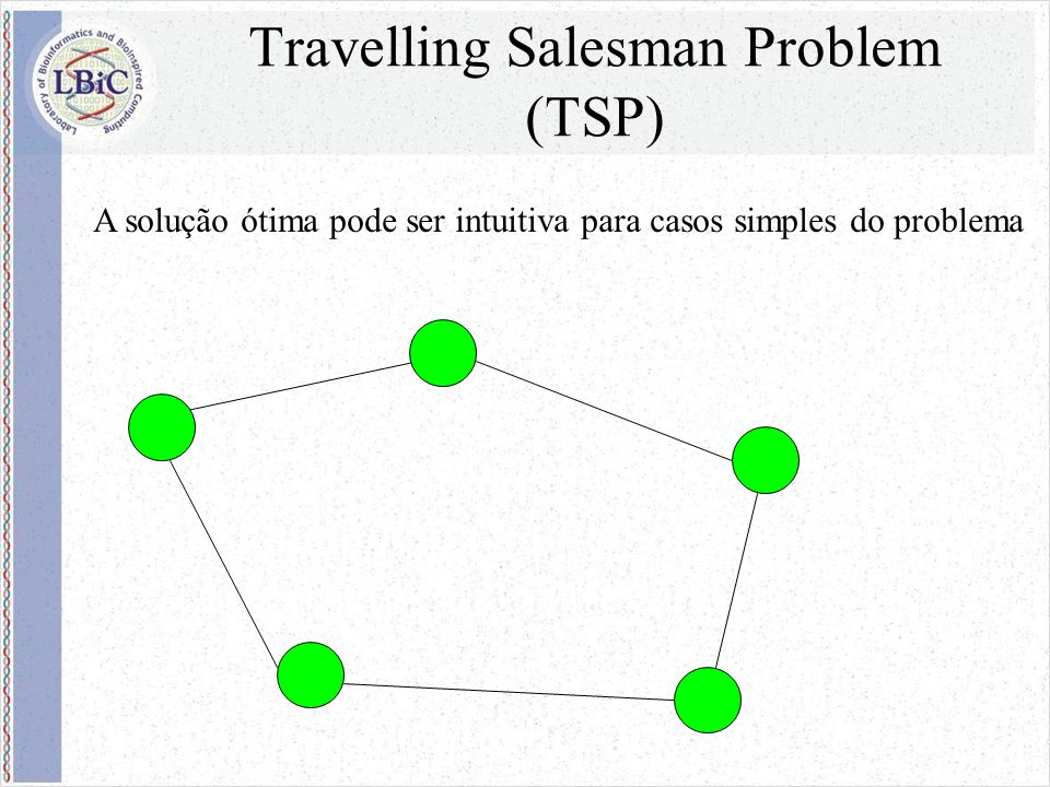 Ant Colony Optimization Em 1992, Dorigo percebeu que as formigas resolviam um problema muito similar ao TSP e, inspirado nesse comportamento, resolveu modelá-lo computacionalmente e verificar como se comportava em algumas instâncias conhecidas do problema.