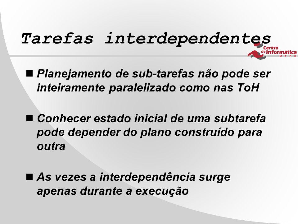 Tarefas interdependentes  Planejamento de sub-tarefas não pode ser inteiramente paralelizado como nas ToH  Conhecer estado inicial de uma subtarefa