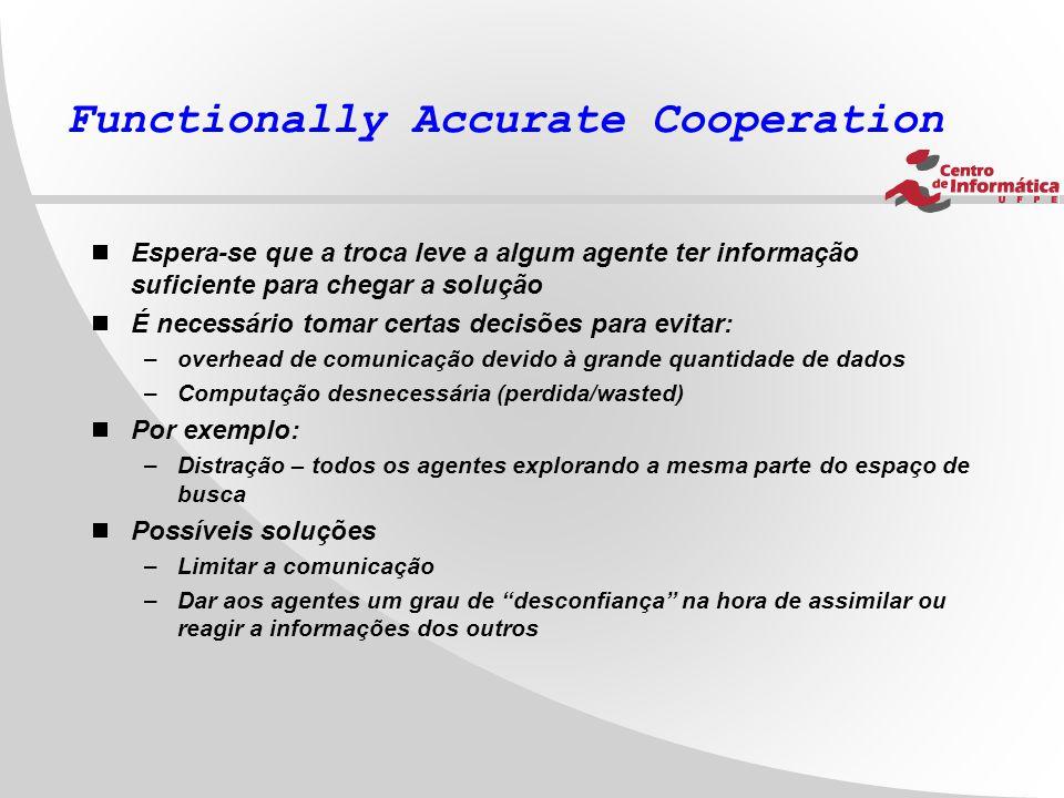Functionally Accurate Cooperation  Espera-se que a troca leve a algum agente ter informação suficiente para chegar a solução  É necessário tomar cer