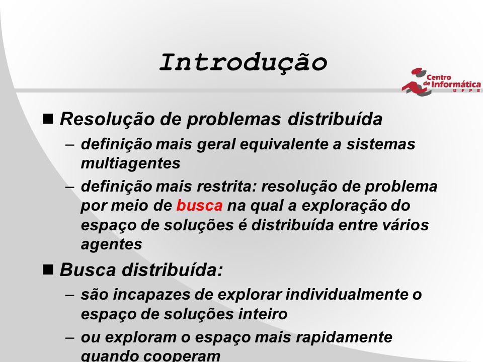 Introdução  Resolução de problemas distribuída –definição mais geral equivalente a sistemas multiagentes –definição mais restrita: resolução de probl