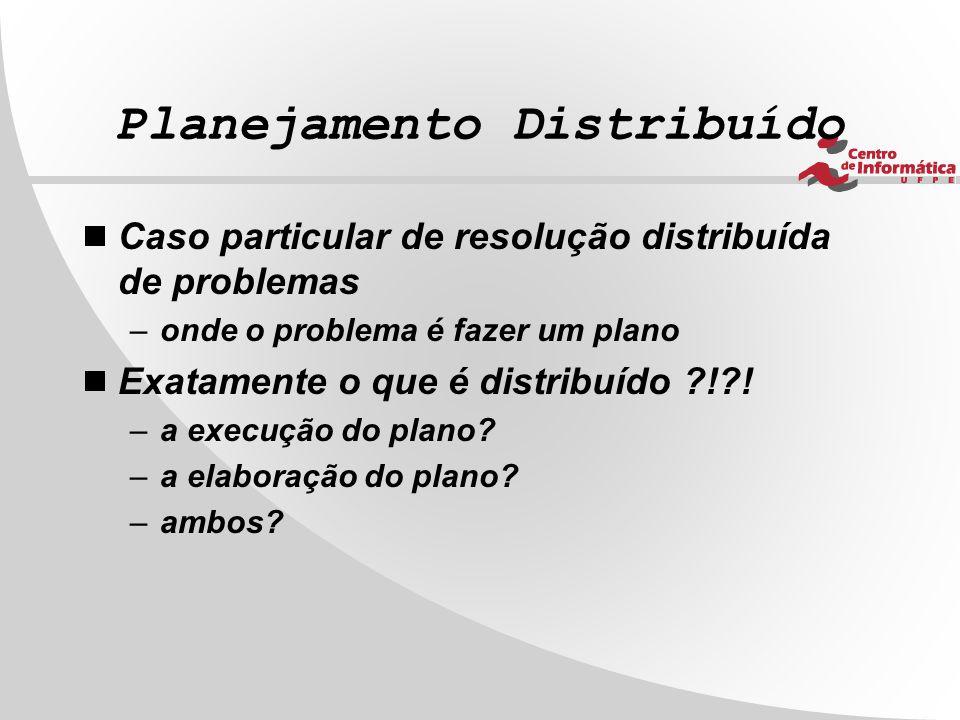 Planejamento Distribuído  Caso particular de resolução distribuída de problemas –onde o problema é fazer um plano  Exatamente o que é distribuído ?!