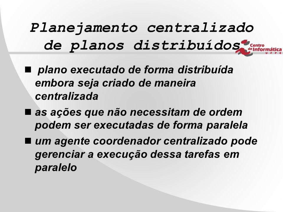 Planejamento centralizado de planos distribuídos  plano executado de forma distribuída embora seja criado de maneira centralizada  as ações que não