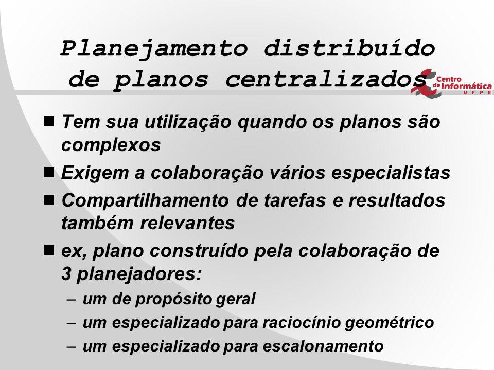 Planejamento distribuído de planos centralizados  Tem sua utilização quando os planos são complexos  Exigem a colaboração vários especialistas  Com