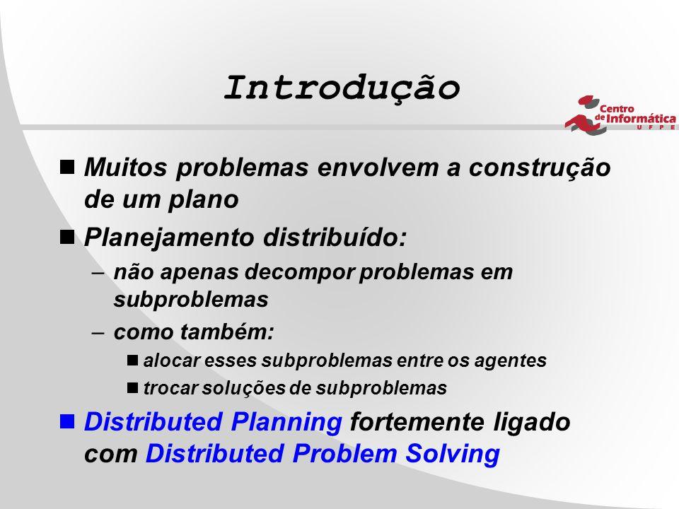 Introdução  Muitos problemas envolvem a construção de um plano  Planejamento distribuído: –não apenas decompor problemas em subproblemas –como també