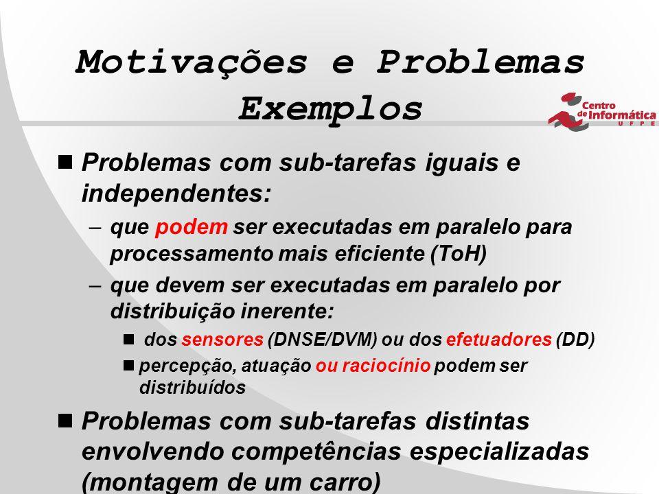 Motivações e Problemas Exemplos  Problemas com sub-tarefas iguais e independentes: –que podem ser executadas em paralelo para processamento mais efic