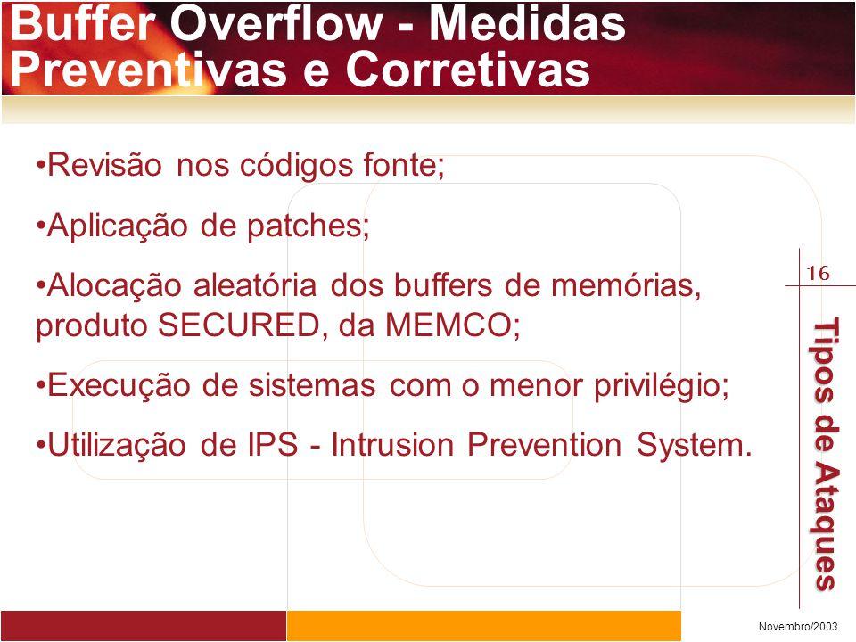 16 Novembro/2003 Tipos de Ataques Buffer Overflow - Medidas Preventivas e Corretivas Revisão nos códigos fonte; Aplicação de patches; Alocação aleatória dos buffers de memórias, produto SECURED, da MEMCO; Execução de sistemas com o menor privilégio; Utilização de IPS - Intrusion Prevention System.