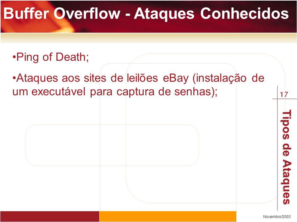 17 Novembro/2003 Tipos de Ataques Buffer Overflow - Ataques Conhecidos Ping of Death; Ataques aos sites de leilões eBay (instalação de um executável para captura de senhas);