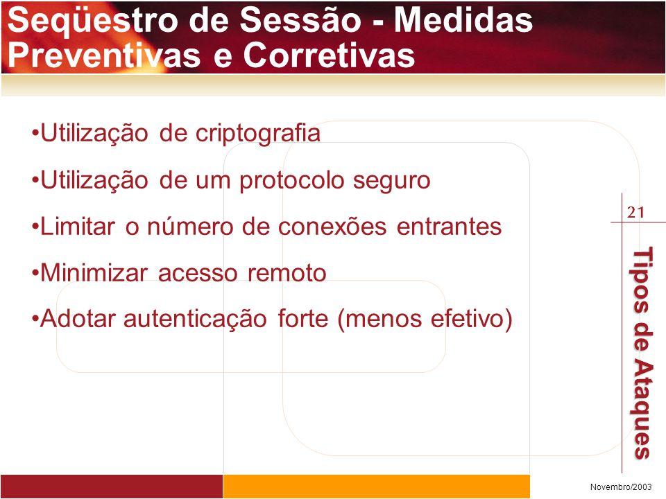 21 Novembro/2003 Tipos de Ataques Utilização de criptografia Utilização de um protocolo seguro Limitar o número de conexões entrantes Minimizar acesso