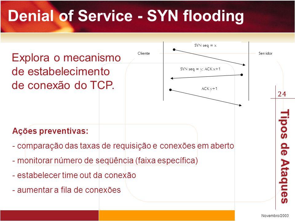 24 Novembro/2003 Tipos de Ataques Denial of Service - SYN flooding ClienteServidor SYN seq = x SYN seq = y; ACK x+1 ACK y+1 Explora o mecanismo de estabelecimento de conexão do TCP.