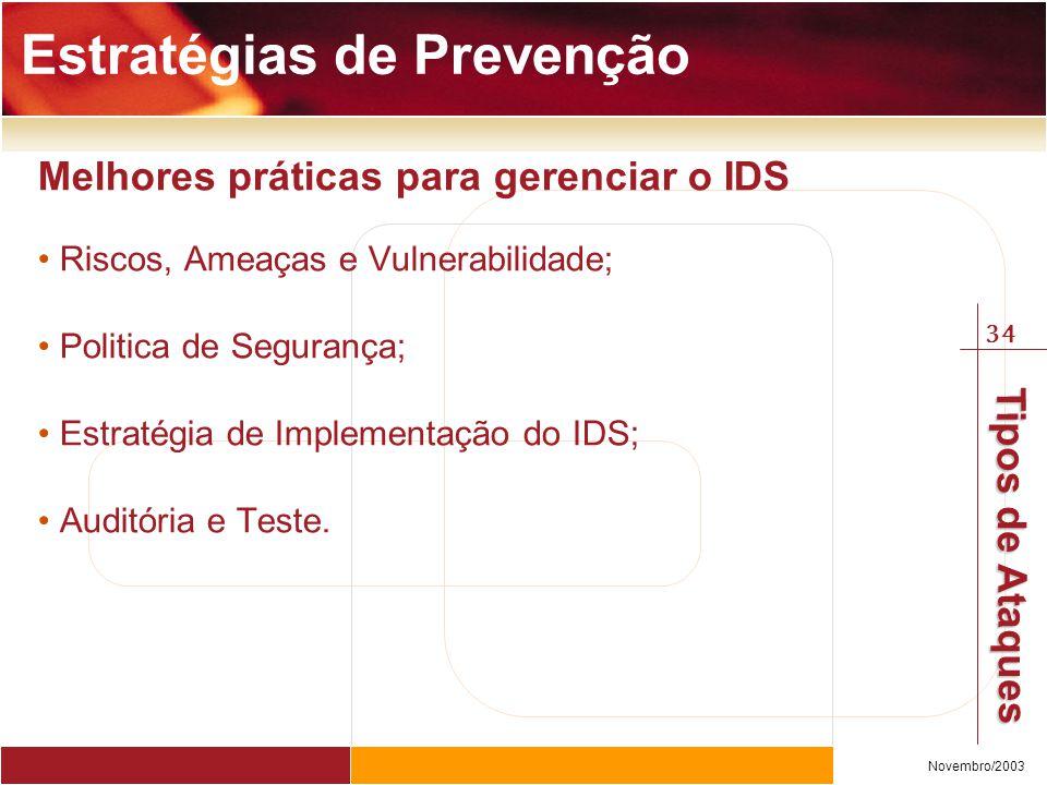 34 Novembro/2003 Tipos de Ataques Estratégias de Prevenção Melhores práticas para gerenciar o IDS Riscos, Ameaças e Vulnerabilidade; Politica de Segurança; Estratégia de Implementação do IDS; Auditória e Teste.