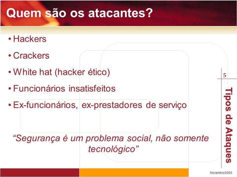 5 Novembro/2003 Tipos de Ataques Hackers Crackers White hat (hacker ético) Funcionários insatisfeitos Ex-funcionários, ex-prestadores de serviço Segurança é um problema social, não somente tecnológico Quem são os atacantes?