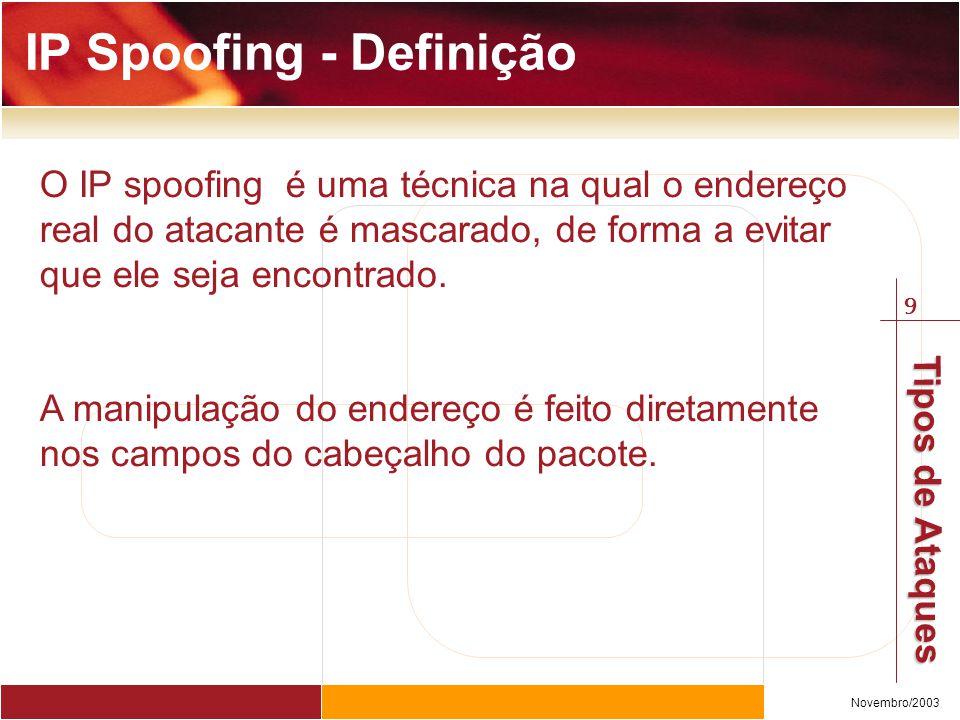9 Novembro/2003 Tipos de Ataques O IP spoofing é uma técnica na qual o endereço real do atacante é mascarado, de forma a evitar que ele seja encontrado.