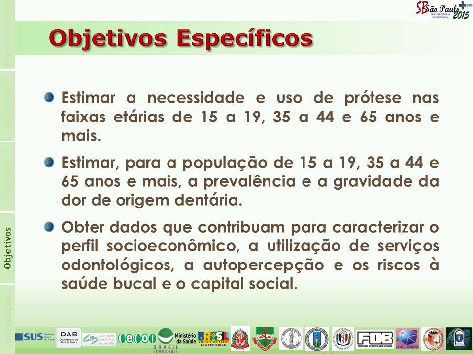 Introdução Objetivos Método Condições Plano Amostral Estimar a necessidade e uso de prótese nas faixas etárias de 15 a 19, 35 a 44 e 65 anos e mais.