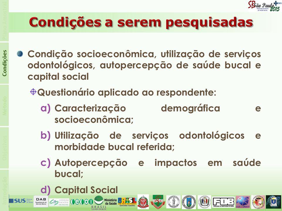 Introdução Condições Plano Amostral Objetivos Método Condição socioeconômica, utilização de serviços odontológicos, autopercepção de saúde bucal e cap