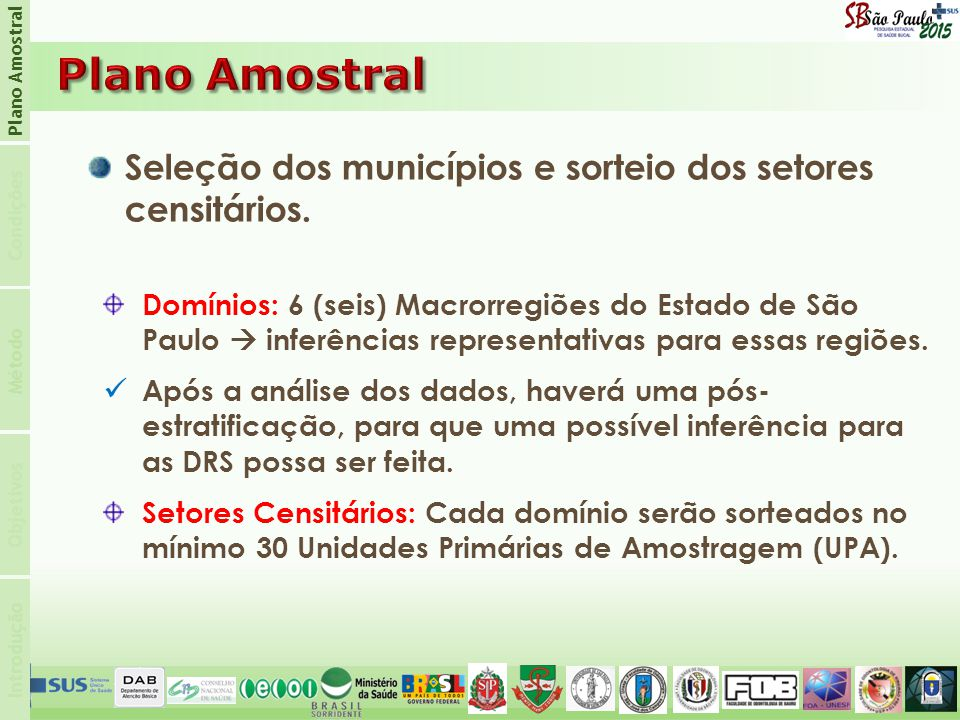 Introdução Condições Plano Amostral Objetivos Método Seleção dos municípios e sorteio dos setores censitários.