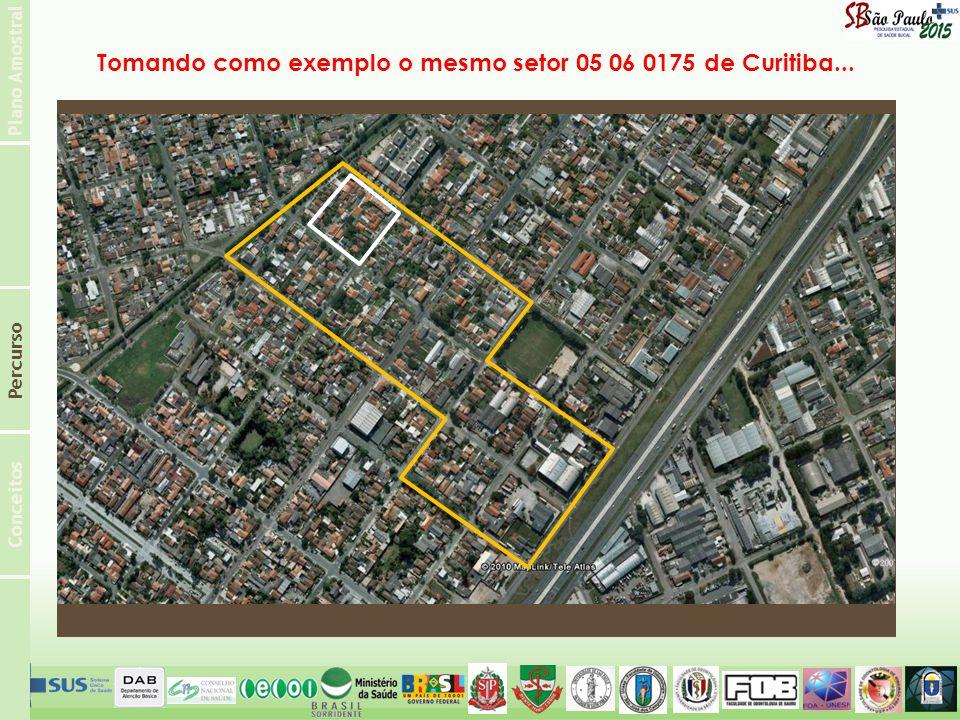 Plano Amostral Conceitos Percurso Tomando como exemplo o mesmo setor 05 06 0175 de Curitiba...